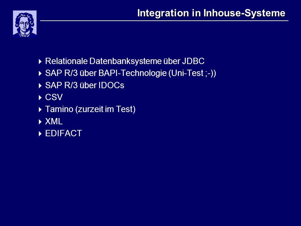 Integration in Inhouse-Systeme  Relationale Datenbanksysteme über JDBC  SAP R/3 über BAPI-Technologie (Uni-Test ;-))  SAP R/3 über IDOCs  CSV  Ta