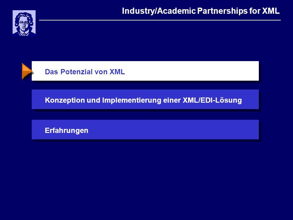Das Potenzial von XML Industry/Academic Partnerships for XML Konzeption und Implementierung einer XML/EDI-LösungErfahrungen