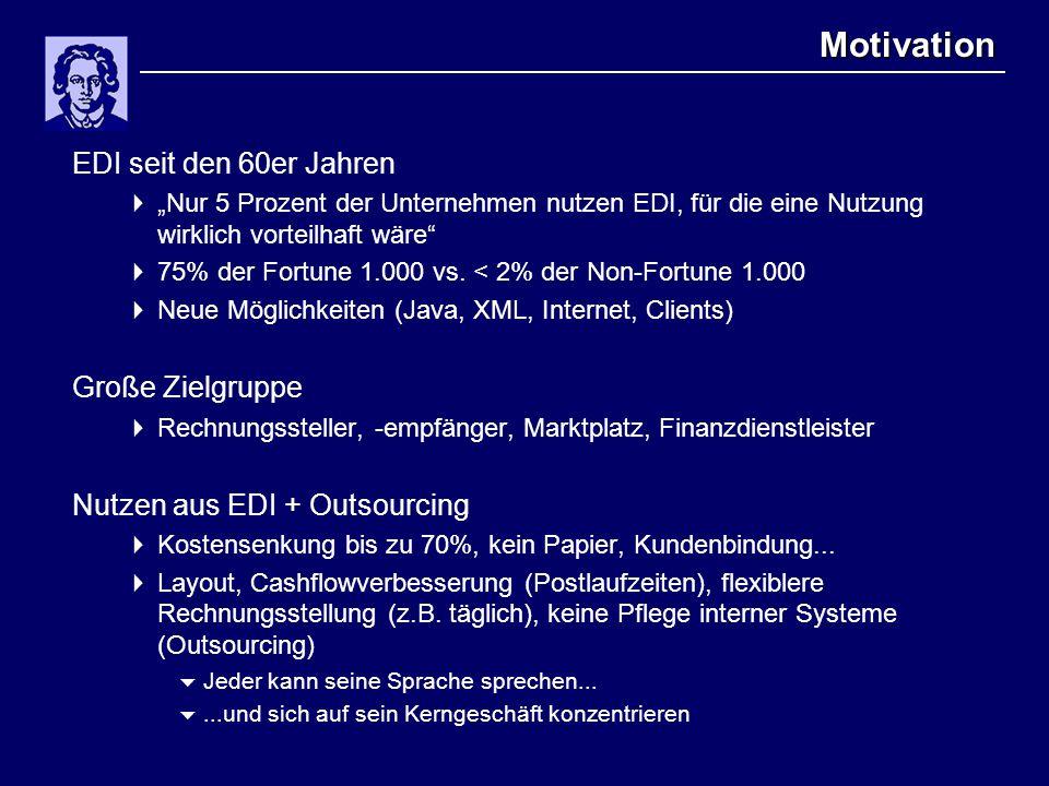 """Motivation EDI seit den 60er Jahren  """"Nur 5 Prozent der Unternehmen nutzen EDI, für die eine Nutzung wirklich vorteilhaft wäre  75% der Fortune 1.000 vs."""
