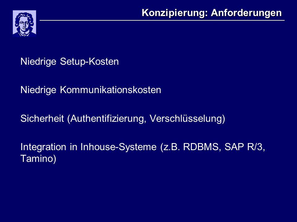 Konzipierung: Anforderungen Niedrige Setup-Kosten Niedrige Kommunikationskosten Sicherheit (Authentifizierung, Verschlüsselung) Integration in Inhouse-Systeme (z.B.
