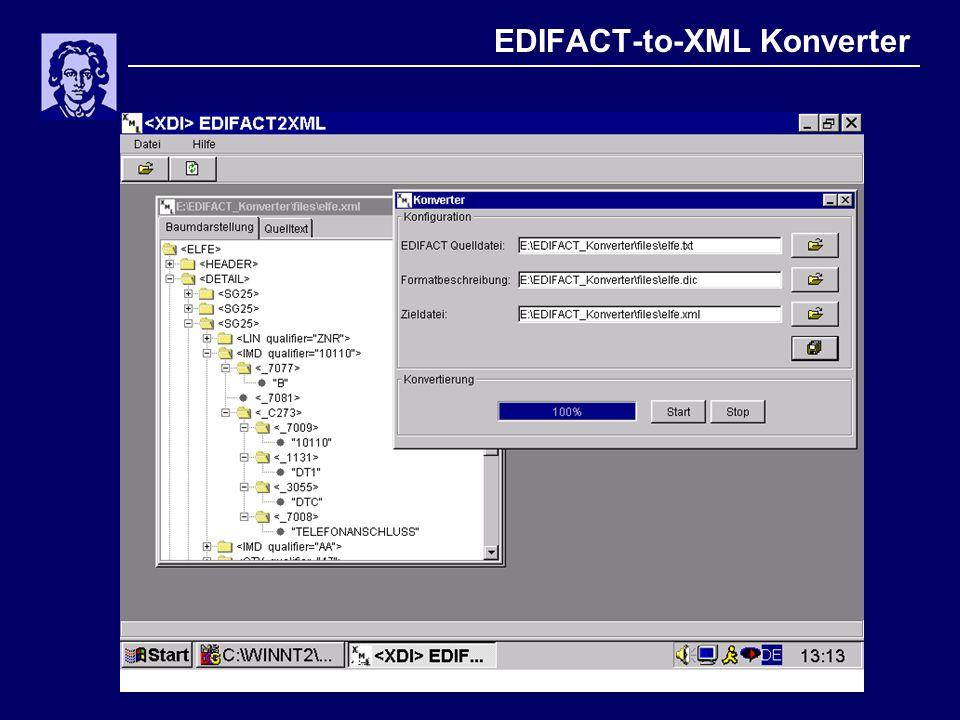 Erfahrungen XML  gutes Datenformat  Tools  hohe Unabhängigkeit (Plattform, Software, Anwendung)  nutzen Sie Schemata, keine DTDs  Schnittstellenfestlegung (Schemata, validierende Parser), - debugging (Klartextformat) und Testen (browsergestützte Testumgebungen) einfach  Probleme: Robustheit (strenge Parsereigenschaften)  Datenmodellierung: Elemente vs.