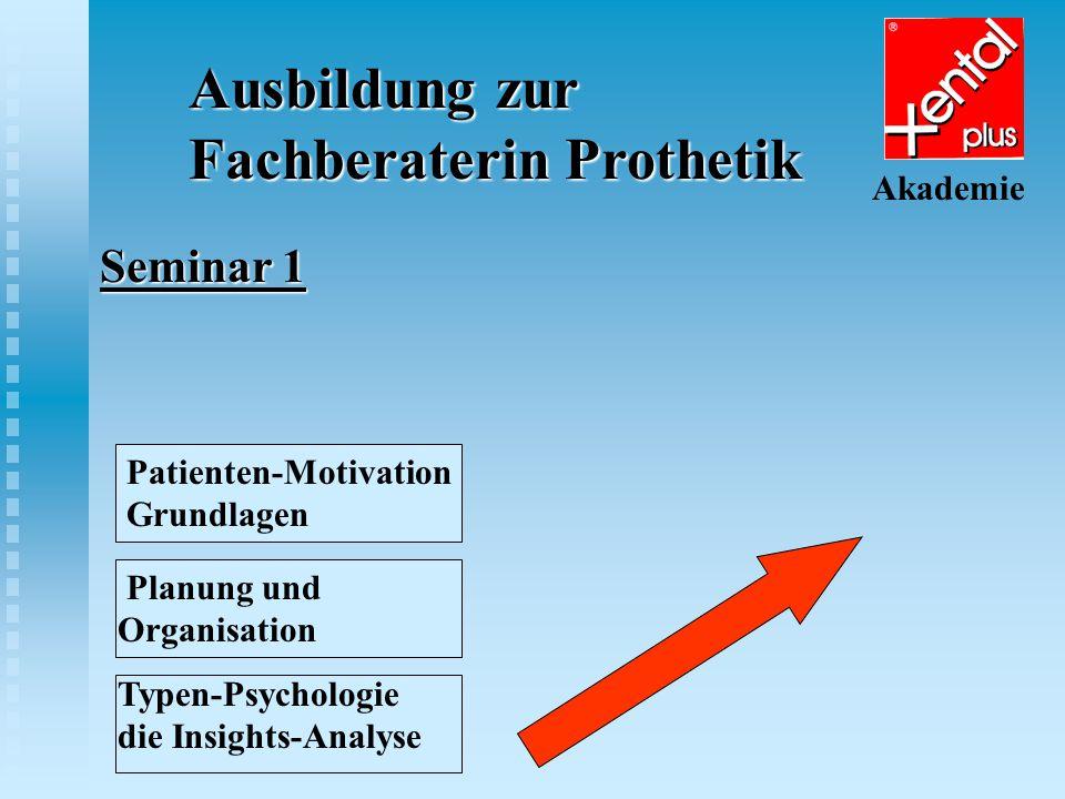 Ausbildung zur Fachberaterin Prothetik Akademie Seminar 2 Patienten-Motivation Grundlagen Planung und Organisation Typen-Psychologie die Insights-Analyse Patienten-Motivation Aufbau 1