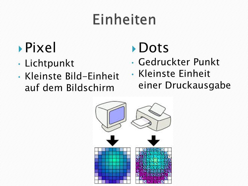  Pixel Lichtpunkt Kleinste Bild-Einheit auf dem Bildschirm  Dots Gedruckter Punkt Kleinste Einheit einer Druckausgabe