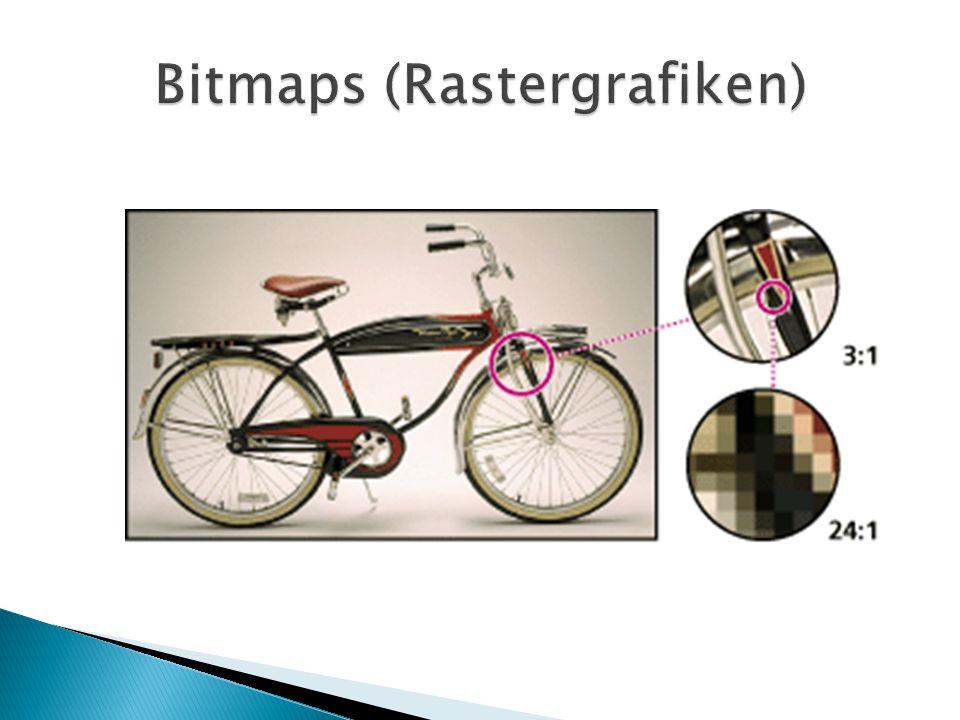  Gängige Bitmap-Formate: TIFF JPEG GIF PNG BMP PSD  Gängige Bitmap- Anwendungen: Adobe Photoshop GIMP Corel Photopaint MS PhotoDraw Paintshop Pro...