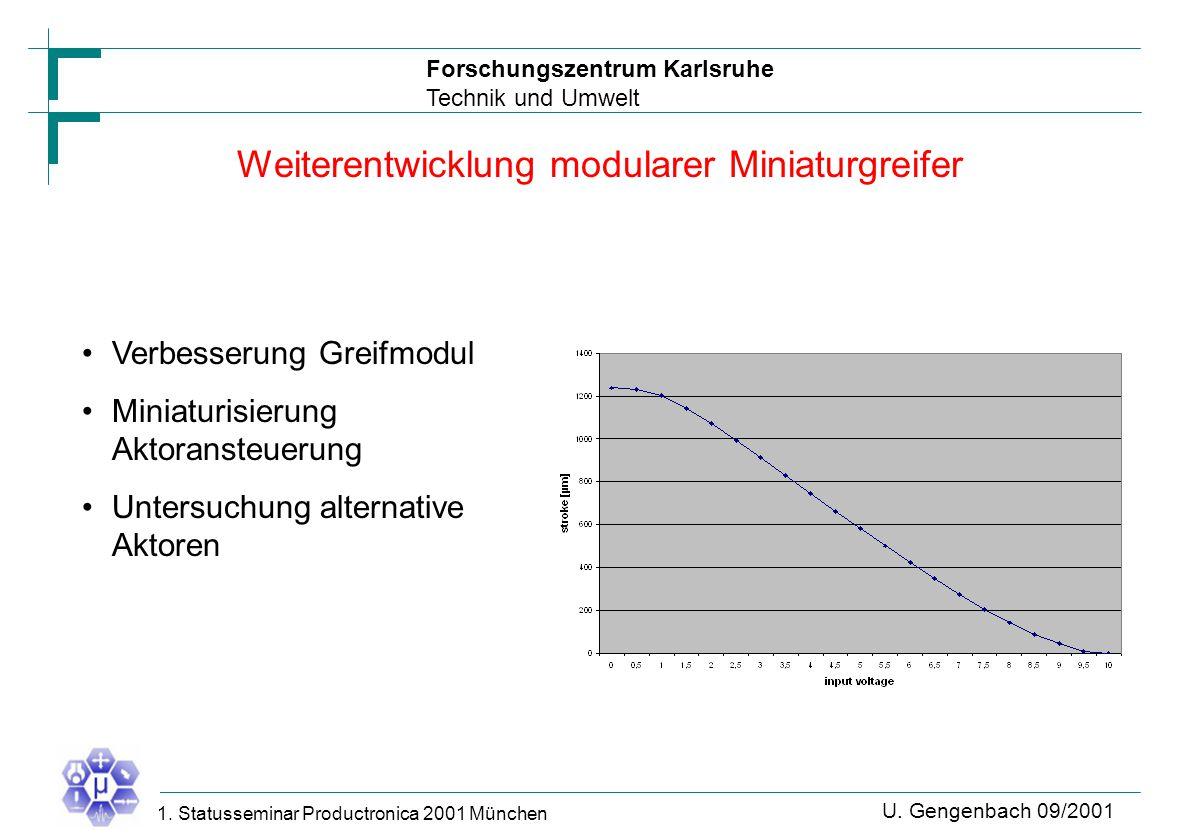 Forschungszentrum Karlsruhe Technik und Umwelt U. Gengenbach 09/2001 1. Statusseminar Productronica 2001 München Weiterentwicklung modularer Miniaturg