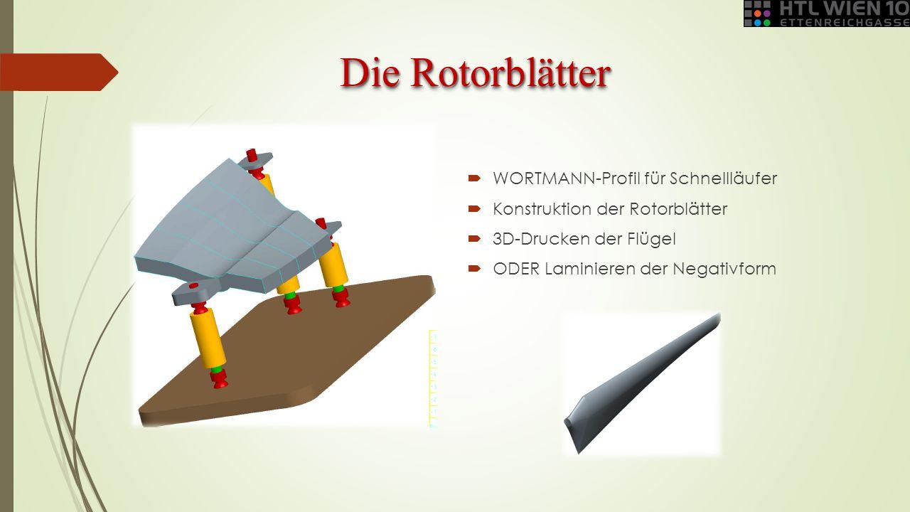 Die Rotorblätter  WORTMANN-Profil für Schnellläufer  Konstruktion der Rotorblätter  3D-Drucken der Flügel  ODER Laminieren der Negativform