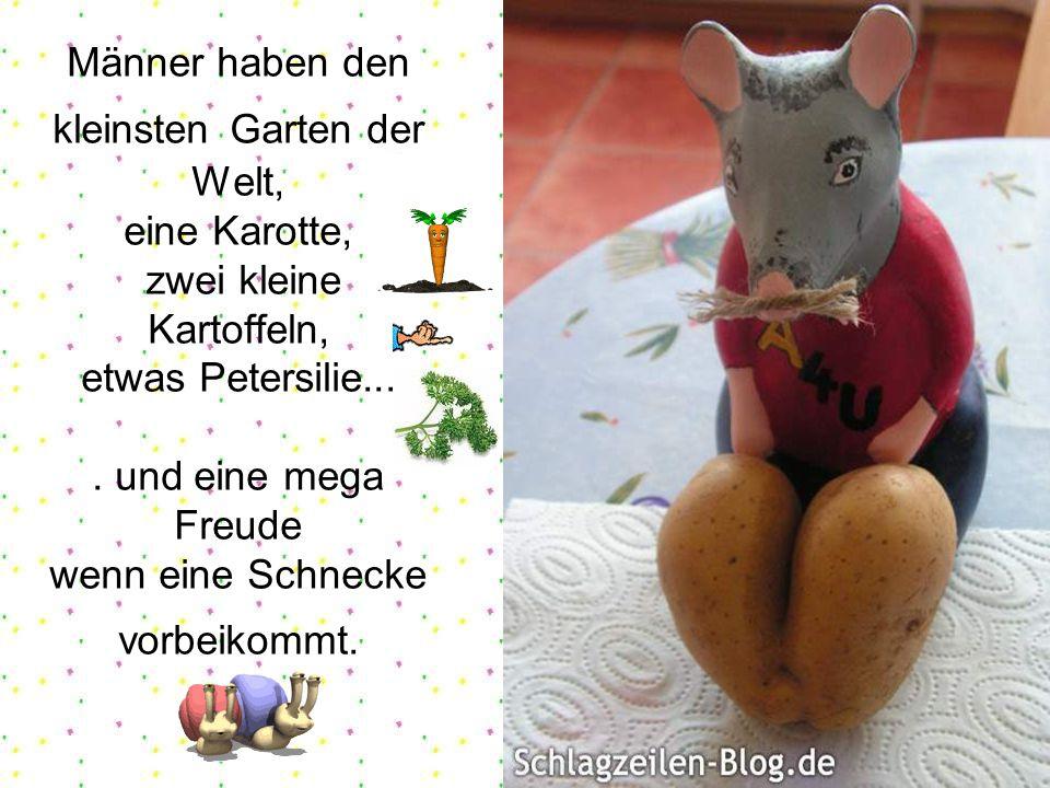 Männer haben den kleinsten Garten der Welt, eine Karotte, zwei kleine Kartoffeln, etwas Petersilie....