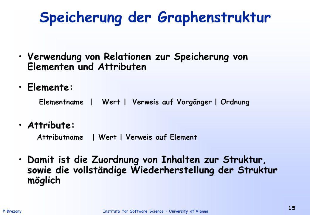 Institute for Software Science – University of ViennaP.Brezany 15 Speicherung der Graphenstruktur Verwendung von Relationen zur Speicherung von Elemen