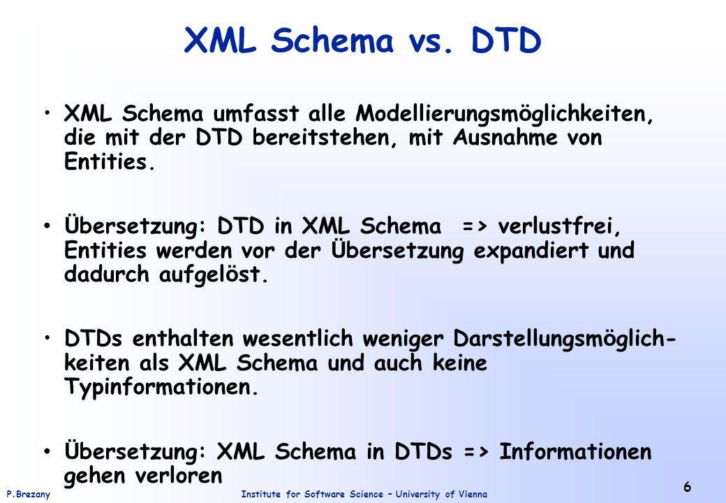 Institute for Software Science – University of ViennaP.Brezany 7 Eigenschaften von XML Dokumenten Wohlgeformtheit Dokument syntaktisch korrekt.