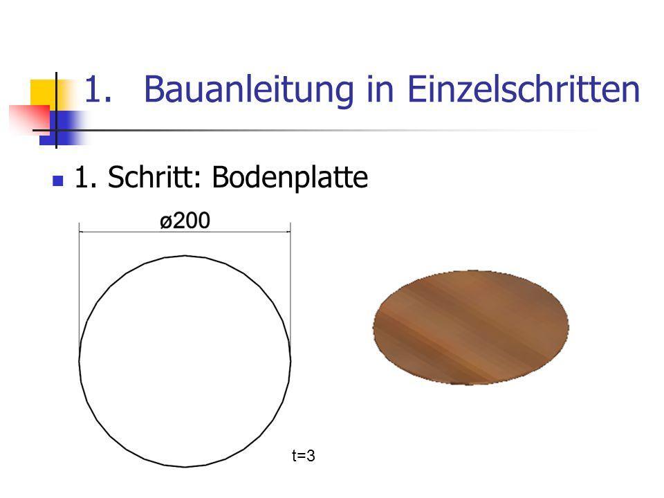 1.Bauanleitung in Einzelschritten 1. Schritt: Bodenplatte t=3