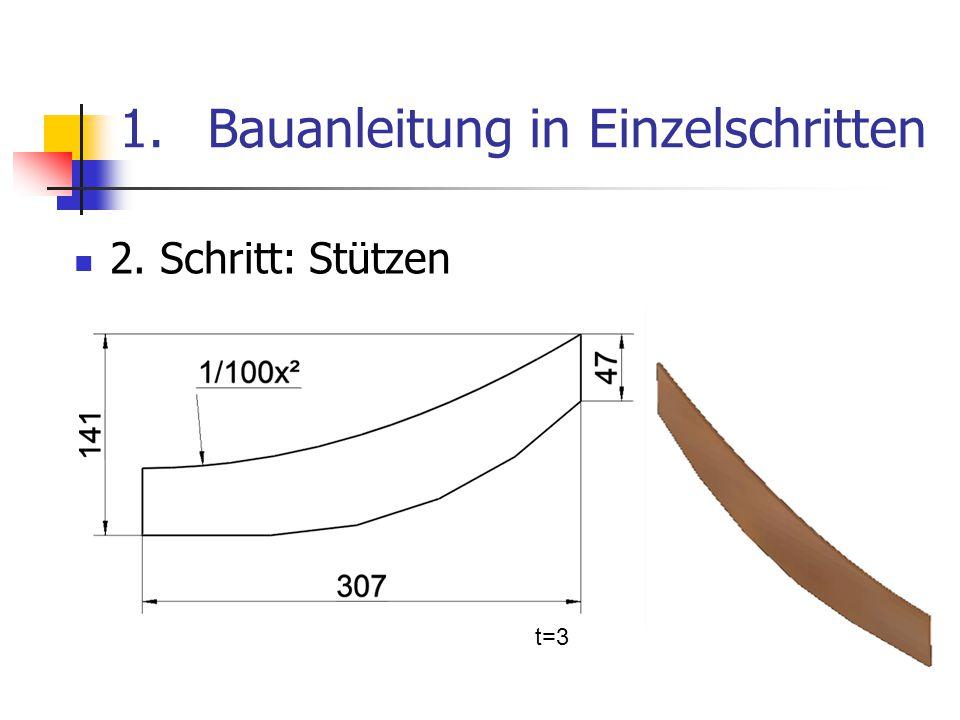 1.Bauanleitung in Einzelschritten 2. Schritt: Stützen t=3