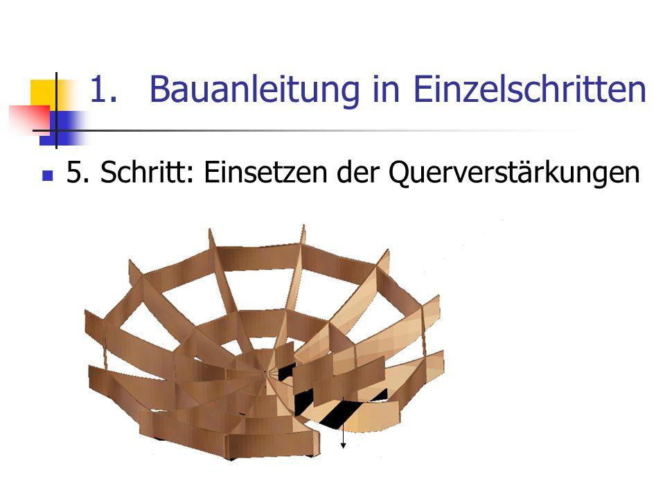 1.Bauanleitung in Einzelschritten 5. Schritt: Einsetzen der Querverstärkungen