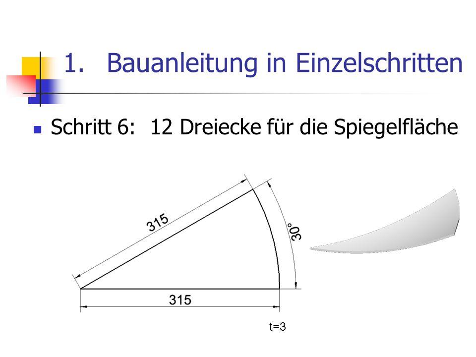 1.Bauanleitung in Einzelschritten Schritt 6: 12 Dreiecke für die Spiegelfläche t=3