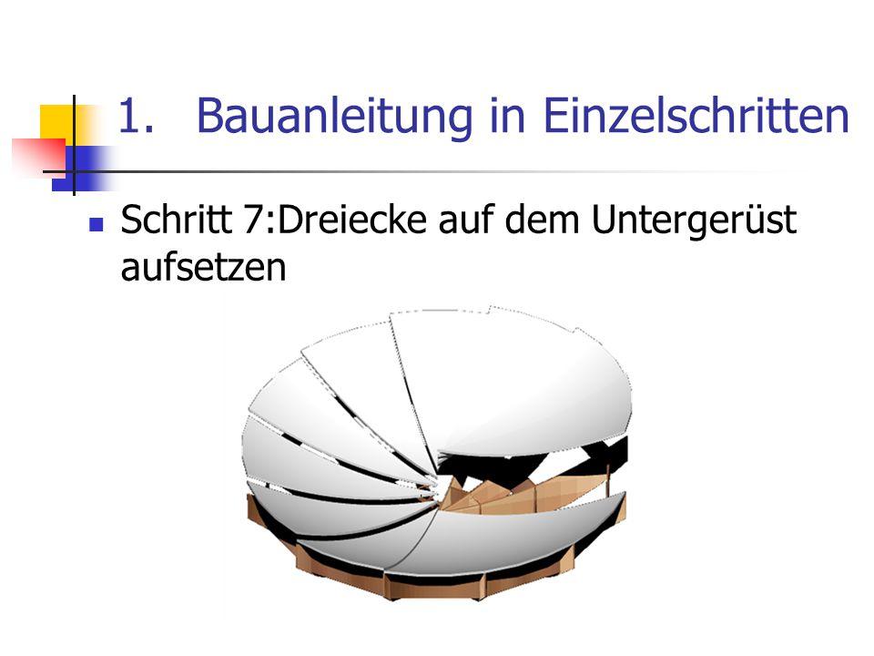 1.Bauanleitung in Einzelschritten Schritt 7:Dreiecke auf dem Untergerüst aufsetzen