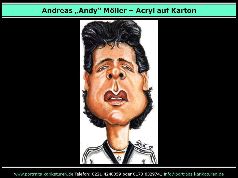 """Andreas """"Andy Möller – Acryl auf Karton www.portraits-karikaturen.dewww.portraits-karikaturen.de Telefon: 0221-4248059 oder 0170-8329741 info@portraits-karikaturen.deinfo@portraits-karikaturen.de Niki Lauda"""