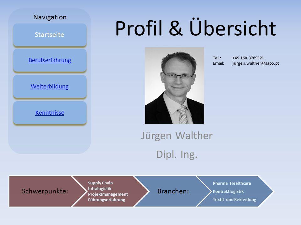 Profil & Übersicht Jürgen Walther Dipl. Ing. Startseite BerufserfahrungWeiterbildungKenntnisse Schwerpunkte: Supply Chain Intralogistik Projektmanagem