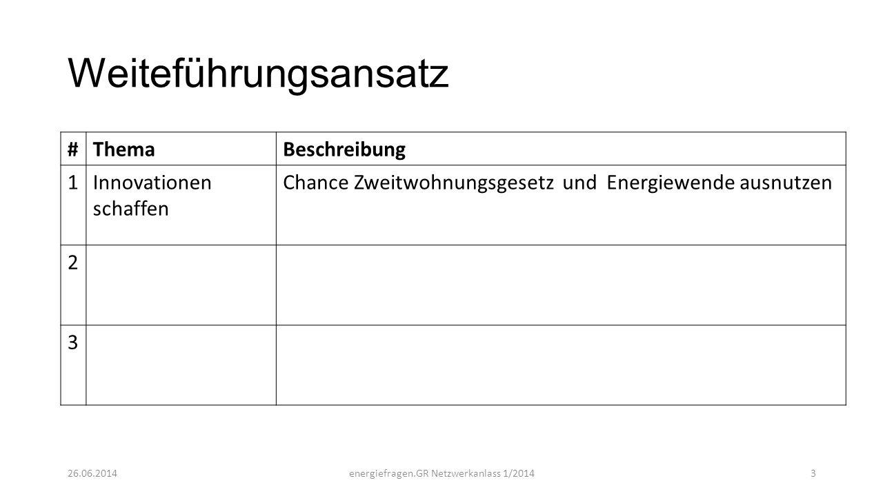 Weiteführungsansatz #ThemaBeschreibung 1Innovationen schaffen Chance Zweitwohnungsgesetz und Energiewende ausnutzen 2 3 26.06.2014energiefragen.GR Net