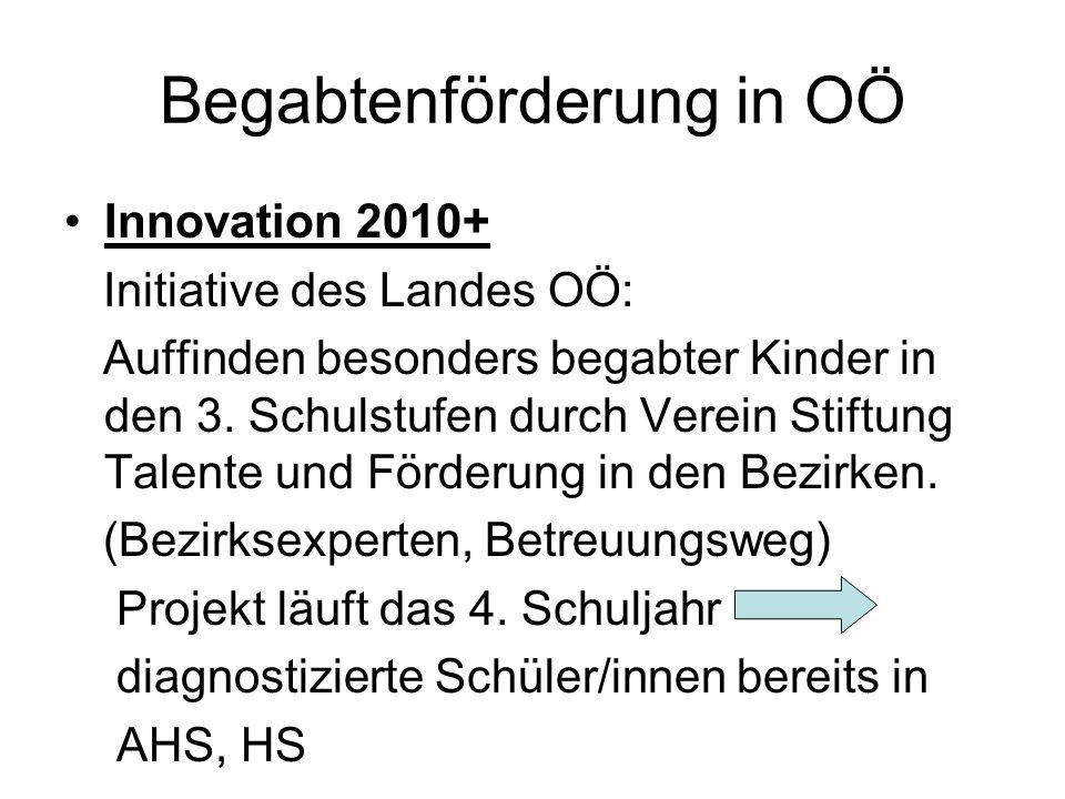 Begabtenförderung in OÖ Innovation 2010+ Initiative des Landes OÖ: Auffinden besonders begabter Kinder in den 3.