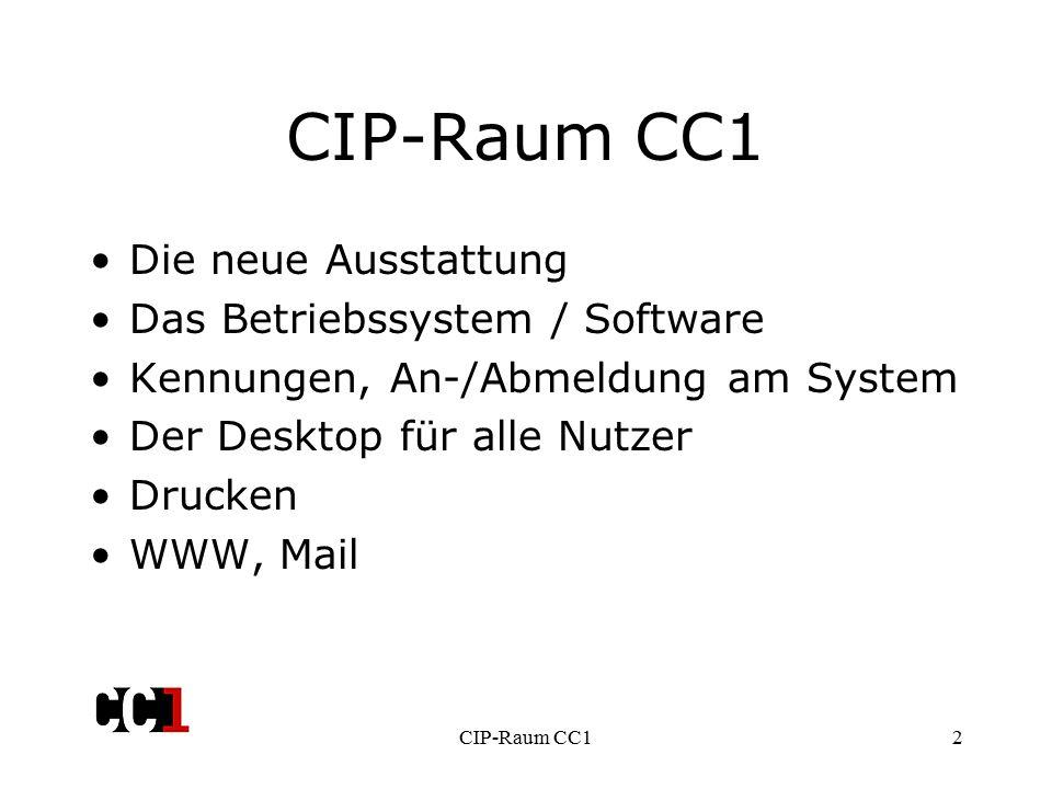 CIP-Raum CC12 Die neue Ausstattung Das Betriebssystem / Software Kennungen, An-/Abmeldung am System Der Desktop für alle Nutzer Drucken WWW, Mail