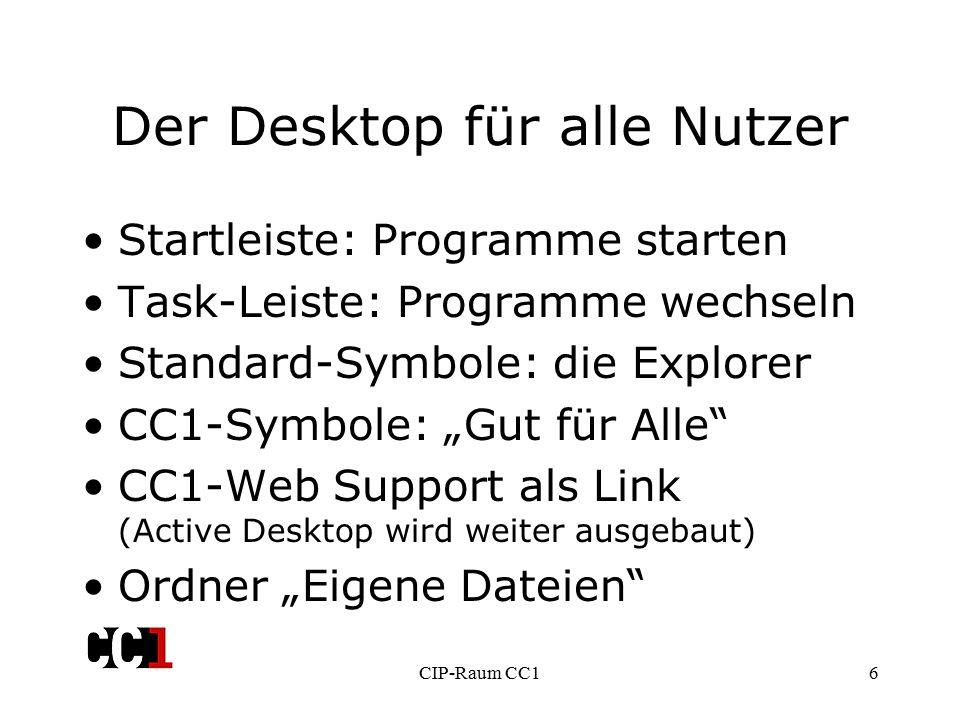 """CIP-Raum CC16 Der Desktop für alle Nutzer Startleiste: Programme starten Task-Leiste: Programme wechseln Standard-Symbole: die Explorer CC1-Symbole: """"Gut für Alle CC1-Web Support als Link (Active Desktop wird weiter ausgebaut) Ordner """"Eigene Dateien"""