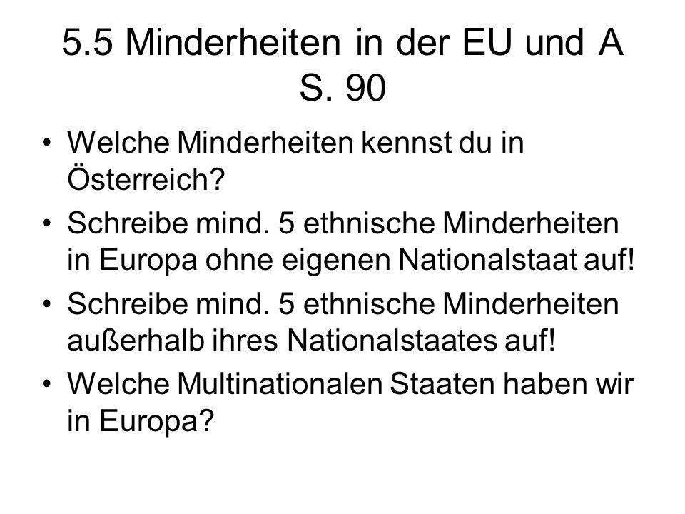 5.5 Minderheiten in der EU und A S. 90 Welche Minderheiten kennst du in Österreich? Schreibe mind. 5 ethnische Minderheiten in Europa ohne eigenen Nat