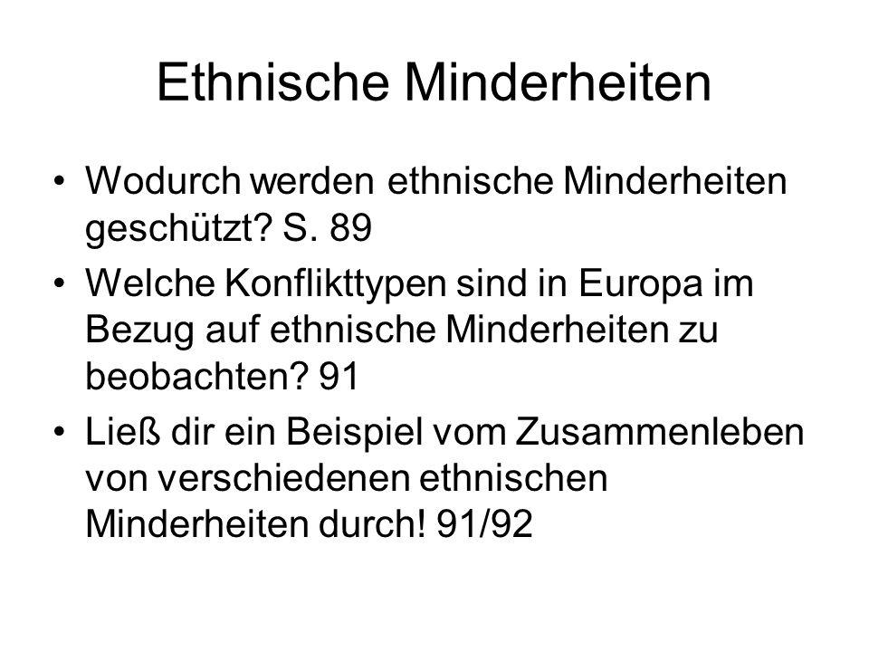 Ethnische Minderheiten Wodurch werden ethnische Minderheiten geschützt? S. 89 Welche Konflikttypen sind in Europa im Bezug auf ethnische Minderheiten