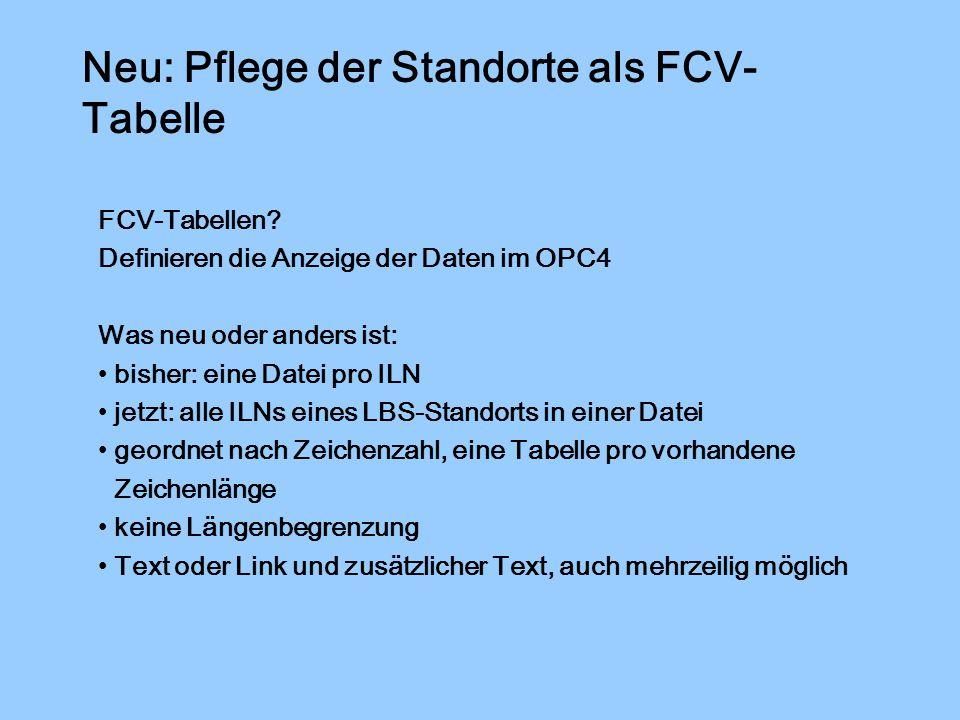 Neu: Pflege der Standorte als FCV- Tabelle FCV-Tabellen.