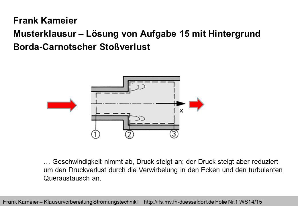 Frank Kameier – Klausurvorbereitung Strömungstechnik I http://ifs.mv.fh-duesseldorf.de Folie Nr.2 WS14/15 Berechnung der Reaktionswandkraft auf die Fläche 2, Druck wirkt entgegen der Strömungsrichtung x auf die Ringfläche.