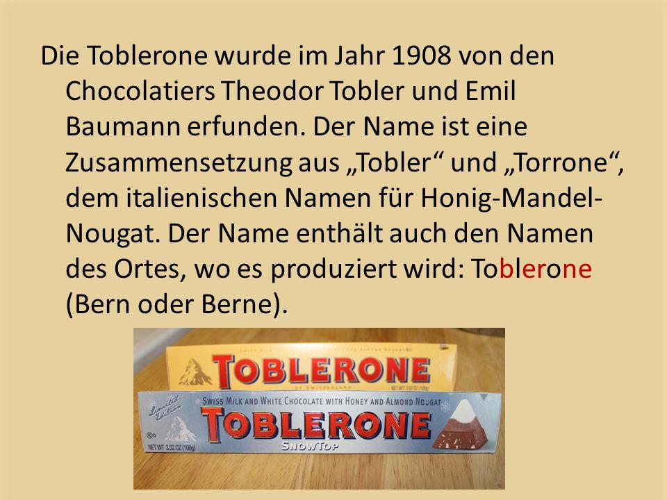 """Die Toblerone wurde im Jahr 1908 von den Chocolatiers Theodor Tobler und Emil Baumann erfunden. Der Name ist eine Zusammensetzung aus """"Tobler"""" und """"To"""