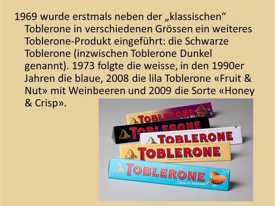 """1969 wurde erstmals neben der """"klassischen"""" Toblerone in verschiedenen Grössen ein weiteres Toblerone-Produkt eingeführt: die Schwarze Toblerone (inzw"""