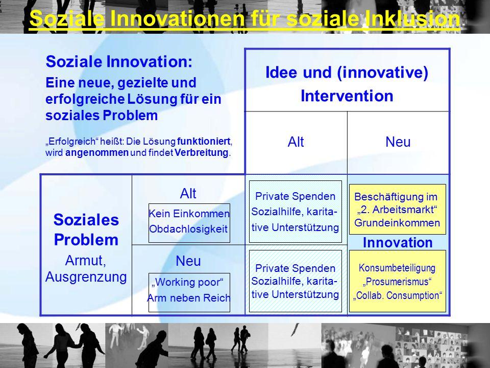 """Soziale Innovation: Eine neue, gezielte und erfolgreiche Lösung für ein soziales Problem """"Erfolgreich heißt: Die Lösung funktioniert, wird angenommen und findet Verbreitung."""