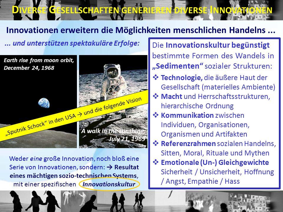 Weder eine große Innovation, noch bloß eine Serie von Innovationen, sondern: → Resultat eines mächtigen sozio-technischen Systems, mit einer spezifischen Innovationskultur Innovationen erweitern die Möglichkeiten menschlichen Handelns...