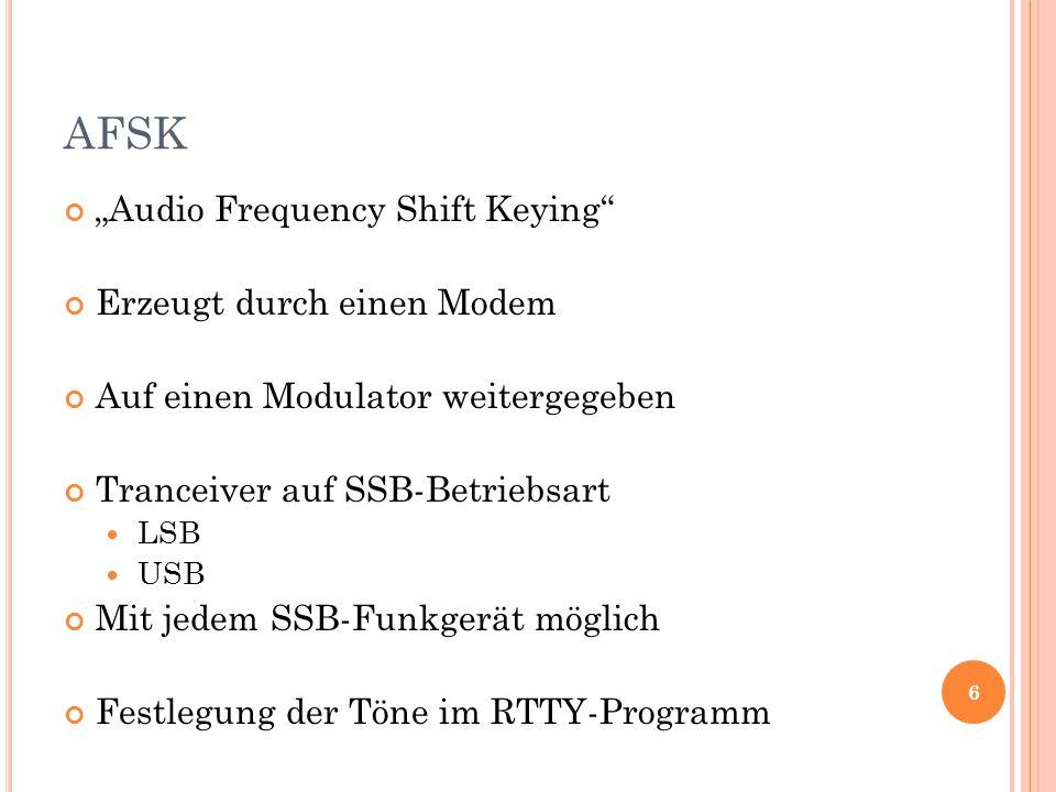 """AFSK """"Audio Frequency Shift Keying Erzeugt durch einen Modem Auf einen Modulator weitergegeben Tranceiver auf SSB-Betriebsart LSB USB Mit jedem SSB-Funkgerät möglich Festlegung der Töne im RTTY-Programm 6"""