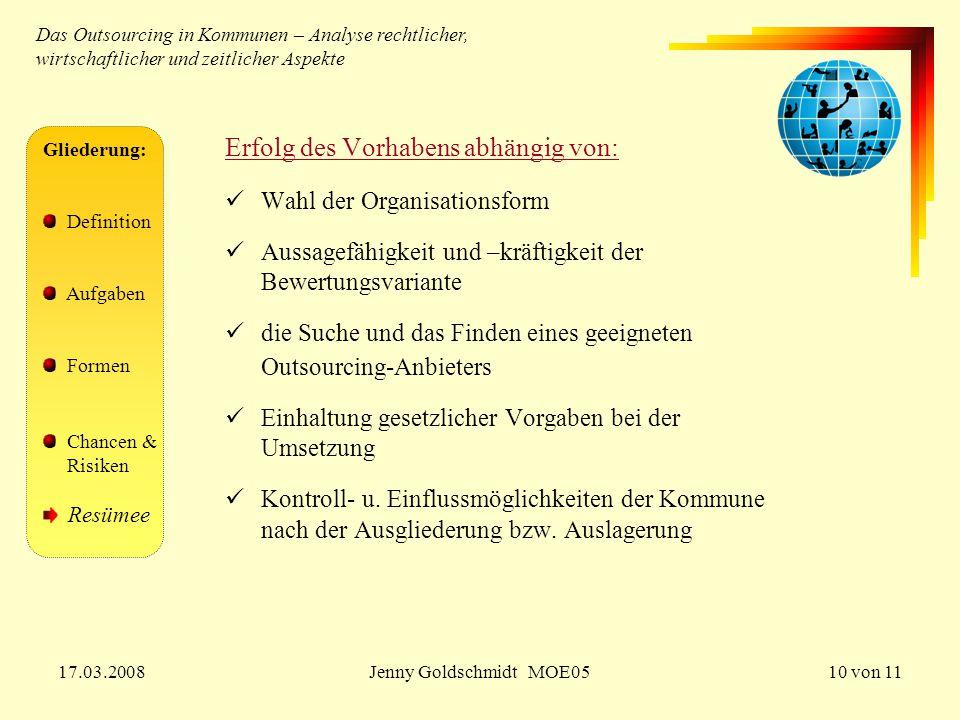 17.03.2008Jenny Goldschmidt MOE0510 von 11 Gliederung: Definition Aufgaben Formen Chancen & Risiken Resümee Erfolg des Vorhabens abhängig von: Wahl de