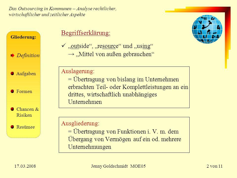 17.03.2008Jenny Goldschmidt MOE052 von 11 Das Outsourcing in Kommunen – Analyse rechtlicher, wirtschaftlicher und zeitlicher Aspekte Begriffserklärung