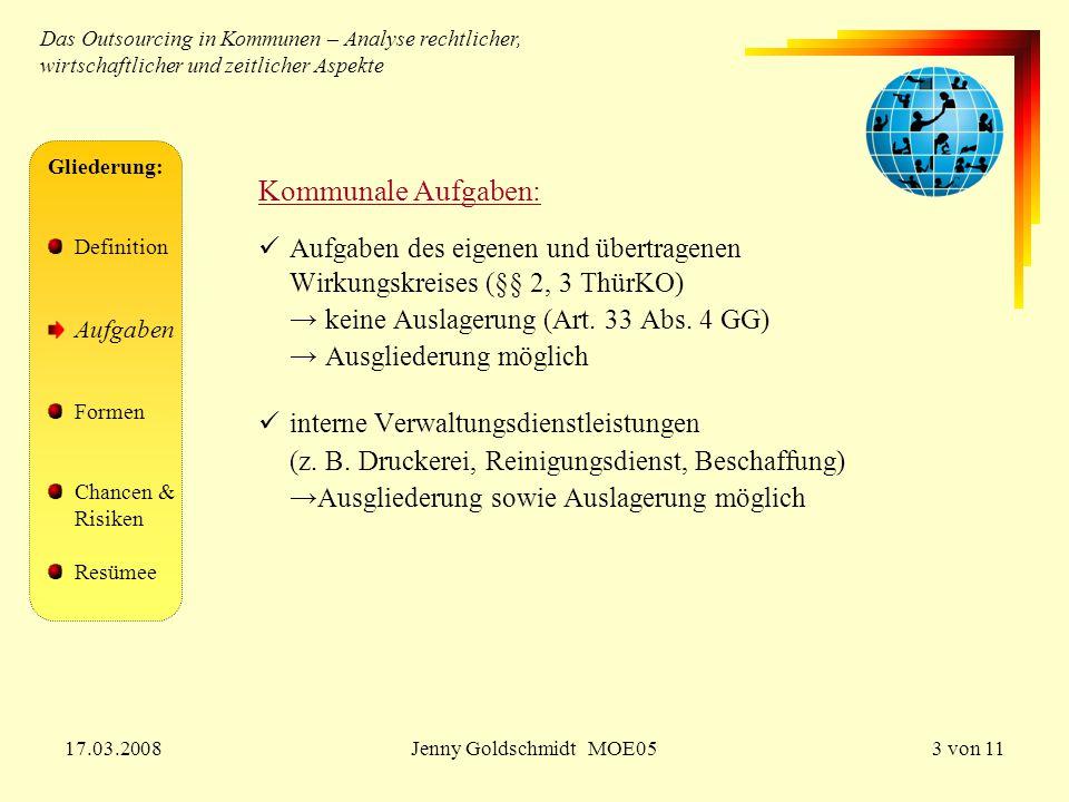 17.03.2008Jenny Goldschmidt MOE053 von 11 Gliederung: Definition Aufgaben Formen Chancen & Risiken Resümee Das Outsourcing in Kommunen – Analyse recht