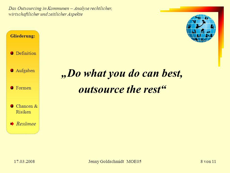 """17.03.2008Jenny Goldschmidt MOE059 von 11 Gliederung: Definition Aufgaben Formen Chancen & Risiken Resümee Studie """"Outsourcing im öffentlichen Sektor : 68% Funktionen an private Anbieter ausgelagert 78% """"sehr zufrieden stellende Erfahrungen Schwerpunkte:  78% Auslagerung v."""