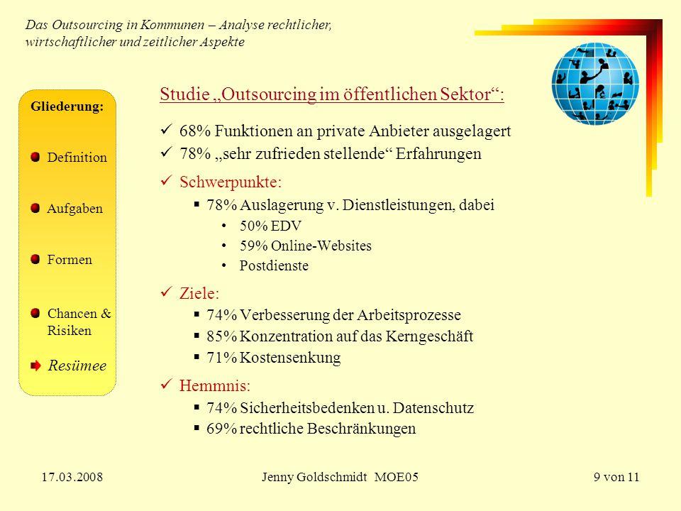 """17.03.2008Jenny Goldschmidt MOE059 von 11 Gliederung: Definition Aufgaben Formen Chancen & Risiken Resümee Studie """"Outsourcing im öffentlichen Sektor"""""""