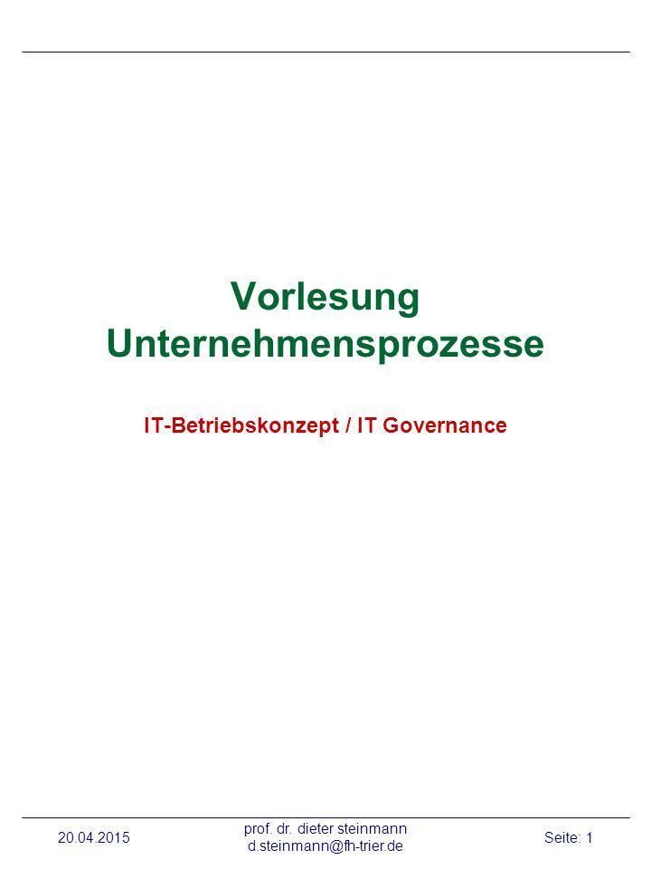 20.04.2015 prof. dr. dieter steinmann d.steinmann@fh-trier.de Seite: 2 Betriebskonzept: SW-Systeme
