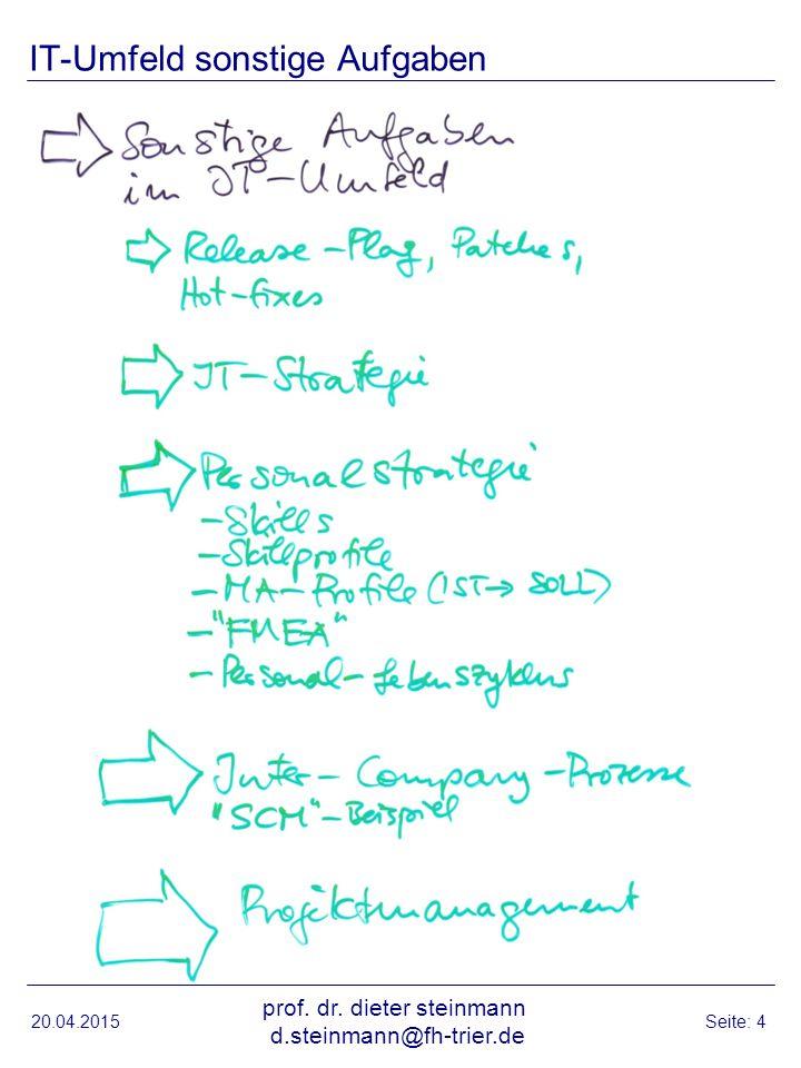 20.04.2015 prof. dr. dieter steinmann d.steinmann@fh-trier.de Seite: 4 IT-Umfeld sonstige Aufgaben