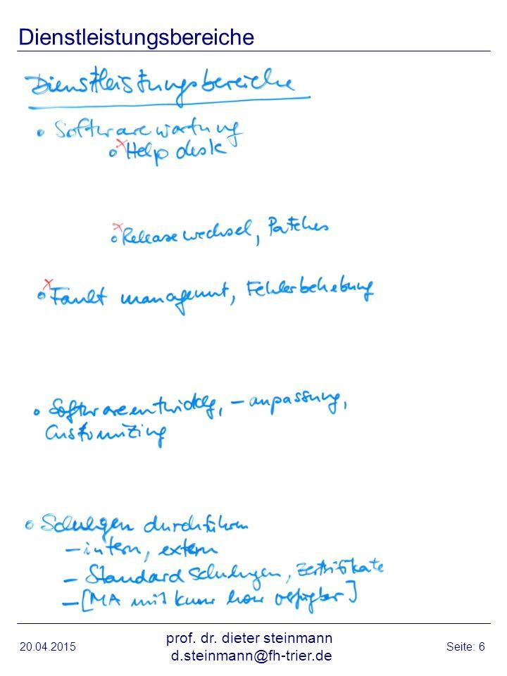 20.04.2015 prof. dr. dieter steinmann d.steinmann@fh-trier.de Seite: 6 Dienstleistungsbereiche