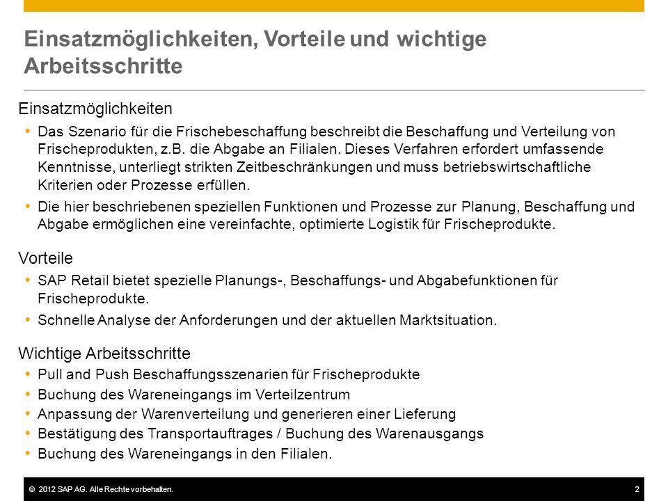 ©2012 SAP AG. Alle Rechte vorbehalten.2 Einsatzmöglichkeiten, Vorteile und wichtige Arbeitsschritte Einsatzmöglichkeiten  Das Szenario für die Frisch