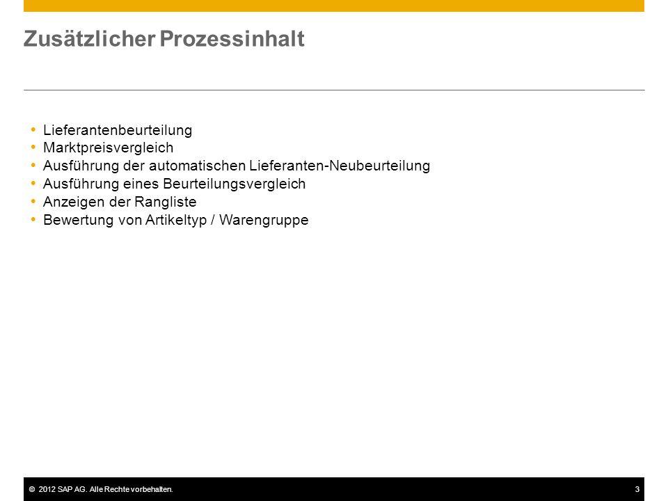 ©2012 SAP AG. Alle Rechte vorbehalten.3 Zusätzlicher Prozessinhalt  Lieferantenbeurteilung  Marktpreisvergleich  Ausführung der automatischen Liefe