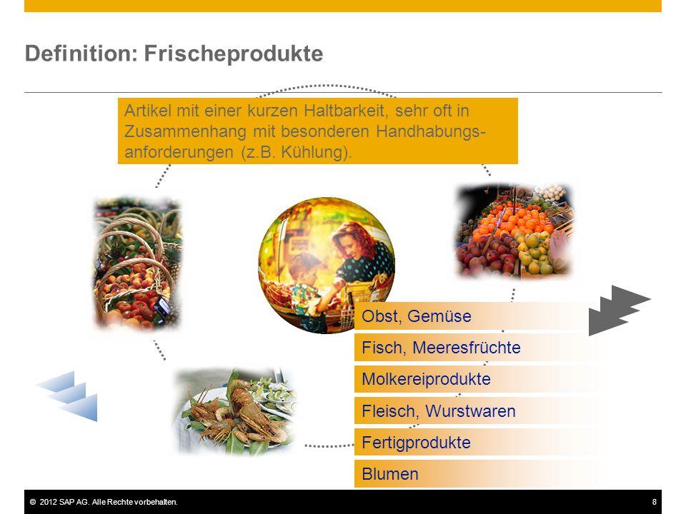 ©2012 SAP AG. Alle Rechte vorbehalten.8 Definition: Frischeprodukte Obst, Gemüse Fisch, Meeresfrüchte Molkereiprodukte Fleisch, Wurstwaren Fertigprodu