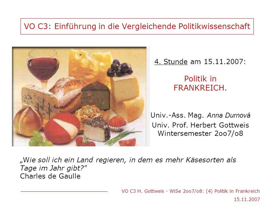 VO C3 H. Gottweis - WiSe 2oo7/o8: (4) Politik in Frankreich 15.11.2007 VO C3: Einführung in die Vergleichende Politikwissenschaft 4. Stunde am 15.11.2