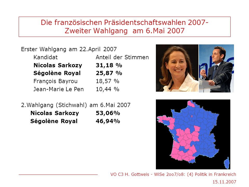 VO C3 H. Gottweis - WiSe 2oo7/o8: (4) Politik in Frankreich 15.11.2007 Die französischen Präsidentschaftswahlen 2007- Zweiter Wahlgang am 6.Mai 2007 E