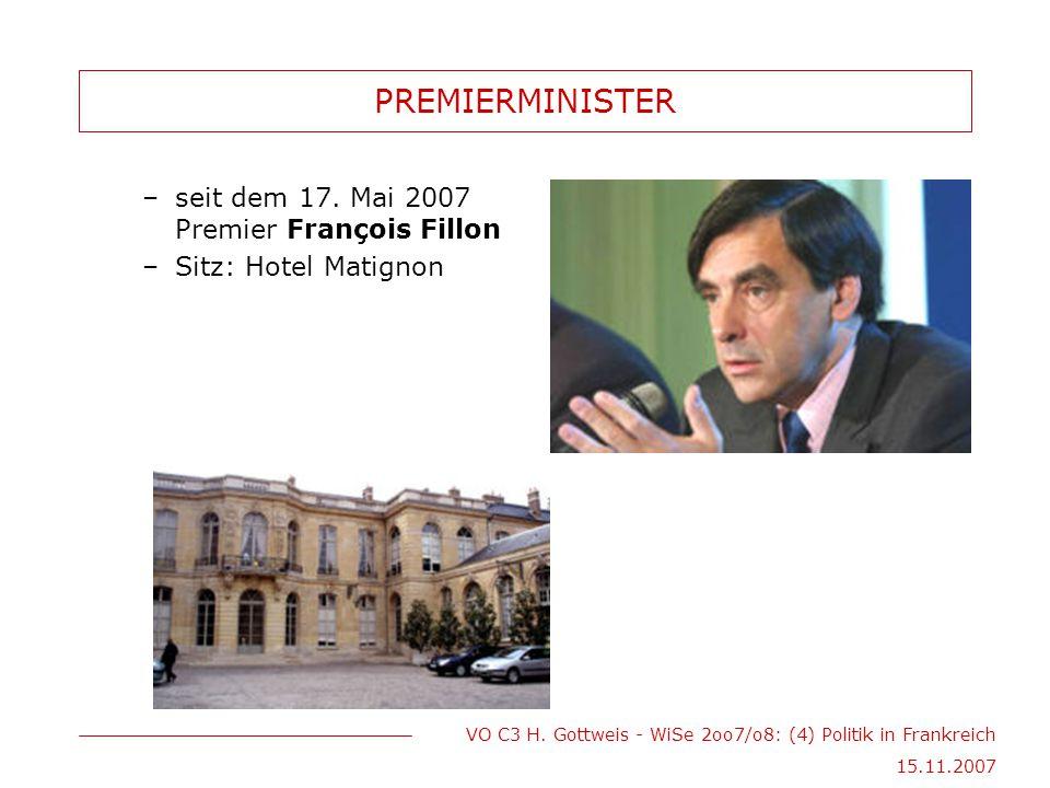 VO C3 H. Gottweis - WiSe 2oo7/o8: (4) Politik in Frankreich 15.11.2007 PREMIERMINISTER –seit dem 17. Mai 2007 Premier François Fillon –Sitz: Hotel Mat