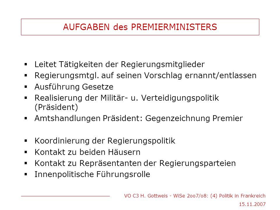 VO C3 H. Gottweis - WiSe 2oo7/o8: (4) Politik in Frankreich 15.11.2007 AUFGABEN des PREMIERMINISTERS  Leitet Tätigkeiten der Regierungsmitglieder  R