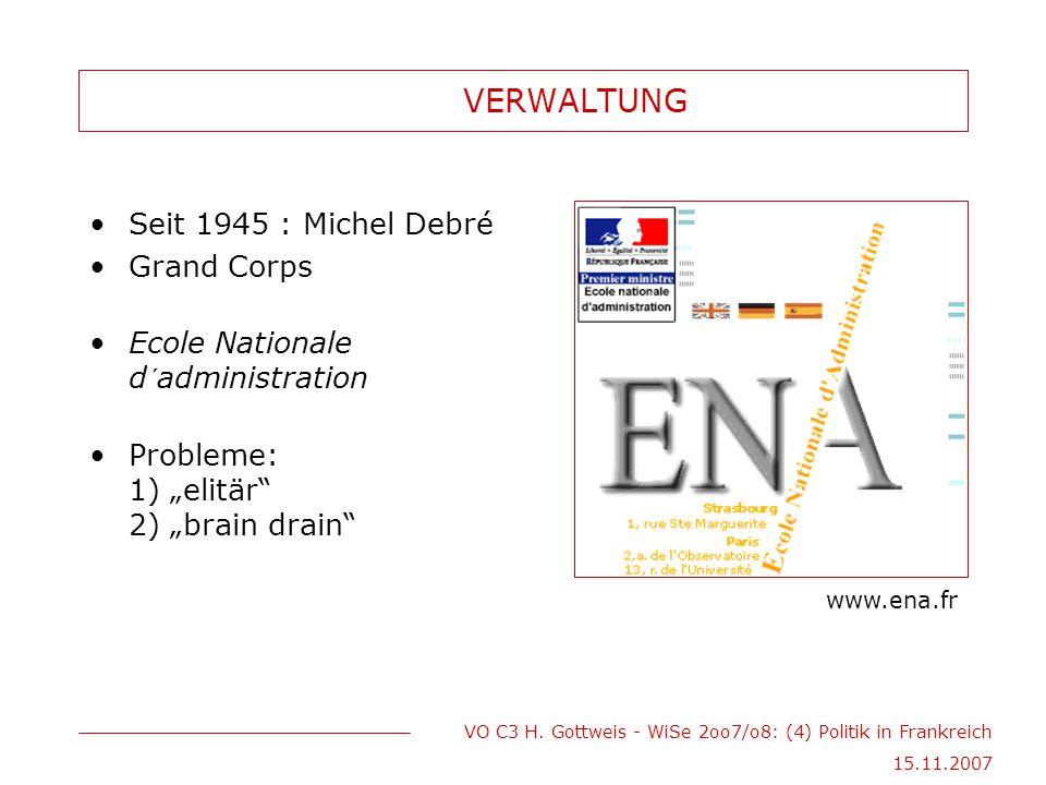 VO C3 H. Gottweis - WiSe 2oo7/o8: (4) Politik in Frankreich 15.11.2007 VERWALTUNG Seit 1945 : Michel Debré Grand Corps Ecole Nationale d´administratio