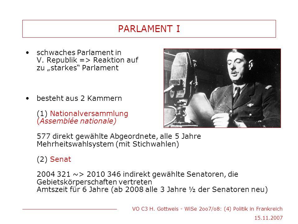 "VO C3 H. Gottweis - WiSe 2oo7/o8: (4) Politik in Frankreich 15.11.2007 PARLAMENT I schwaches Parlament in V. Republik => Reaktion auf zu ""starkes"" Par"